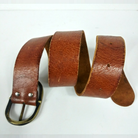 b0c85fc2f N/A Accessories | Vintage Leather Belt With Solid Metal Buckle 345 ...